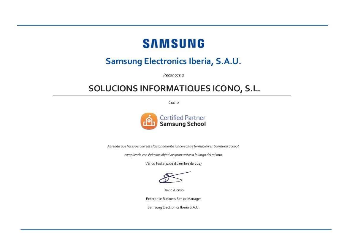 Certificados Samsung School 2017 ICONO