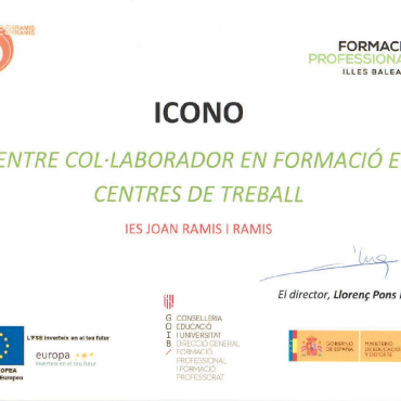 Certificat de col·laboració IES Ramis